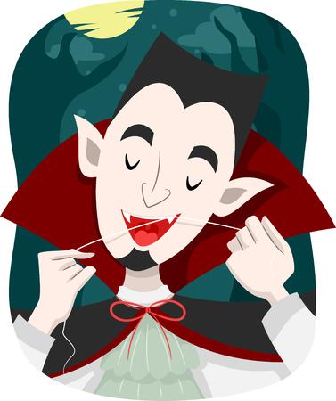 Ilustración de un vampiro usa la seda dental para limpiar sus dientes Foto de archivo