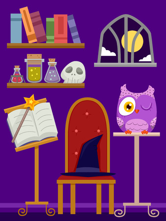 wizardry: Illustration of a Purple Room Filled with Wizardry Related Items