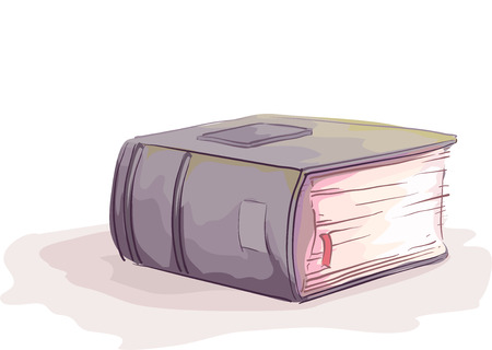 thick: Sketchy Illustration of a Thick Hardbound Book with a Marker Tucked Between the Pages