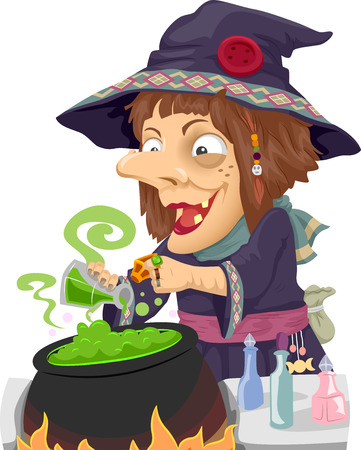 mixing: Illustration of a Witch Mixing Potions in a Cauldron