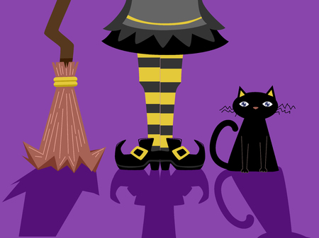 beside: Illustration of a Witch Standing Beside a Black Cat and a Broomstick