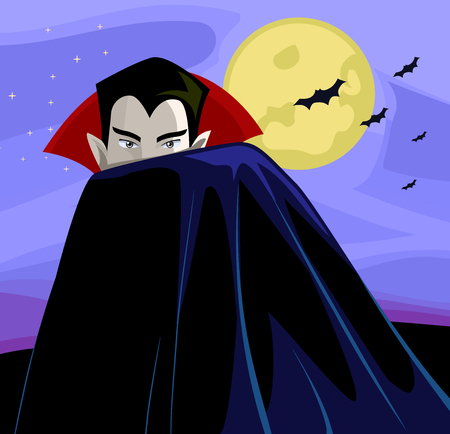 Illustration of a Vampire Hiding Behind His Vampire Cloak