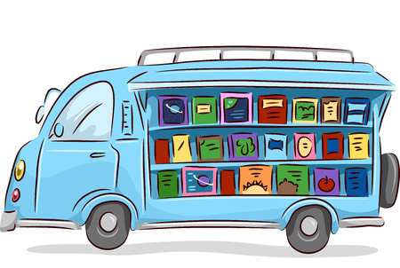 converted: Illustration of a Converted Mobile Library Driving Around Stock Photo