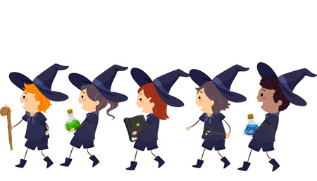 dressed: Stickman Illustration of Kids Dressed as Witches Walking in a Line