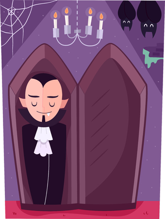 lair: Illustration of a Vampire Sleeping in an Upright Coffin