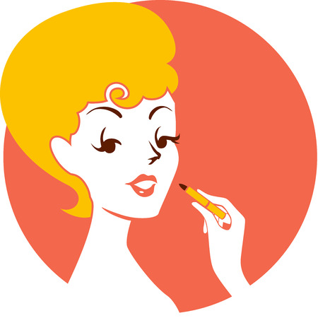 Illustration of a Pinup Girl Applying Lipstick on Her Face