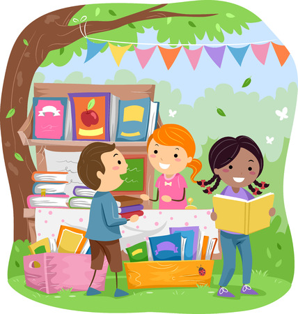 sell: Stickman Illustration of Kids Selling Books in a Park Stock Photo