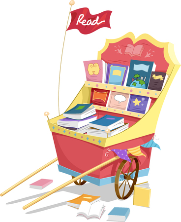 Illustration of a Fancy Cart Filled with a Wide Assortment of Books Stock Photo