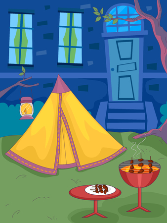 camping: Illustration of a Backyard with a Barbecue Grill Standing Next to a Tent Stock Photo