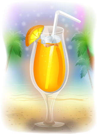 tropical drink: Colorful Illustration of a Tropical Drink Framed by Palm Trees