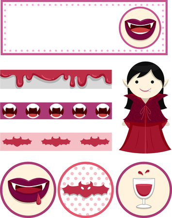 printables: Illustration Featuring Party Printables with a Vampire Theme