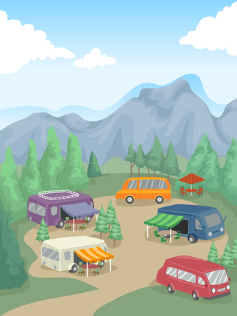 parked: Illustration of Recreational Vehicles Parked in a Camp Site