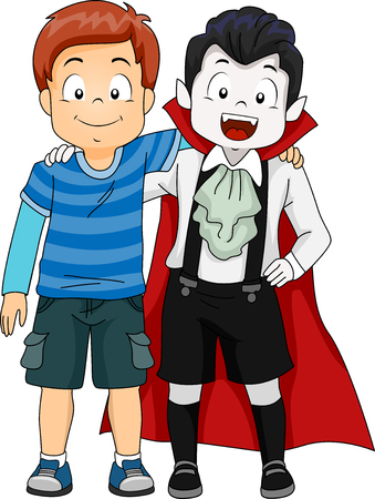 another: Illustration of a Boy Hanging Out with Another Boy Dressed as a Vampire