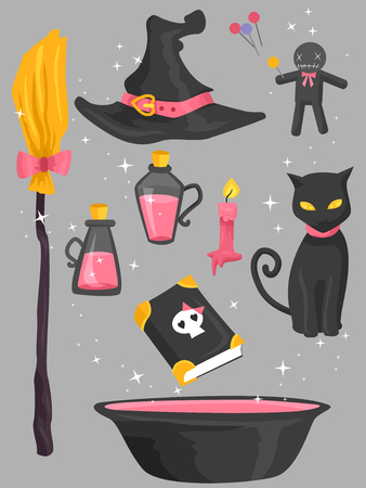 typically: Grouped Illustration of Elements Typically Associated with Witches