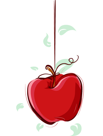 dangling: Illustration of an Apple Hanging from a Piece of String