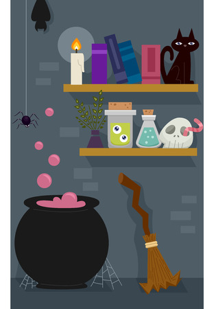 Illustration of the Room of a Witch with a a Shelf Full of Witchcraft Tools Stock Photo