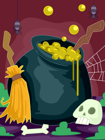 overflowing: Halloween Illustration of a Cauldron Overflowing with a Mysterious Potion Stock Photo
