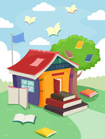 tiny: Illustration of a Tiny School with a Pile of Books for Stairs Stock Photo