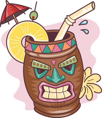 Illustration of a Tropical Drink in a Tiki Mug Stock Photo