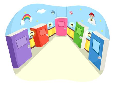 whimsical: Whimsical Illustration of Books Shaped as Doors Stock Photo