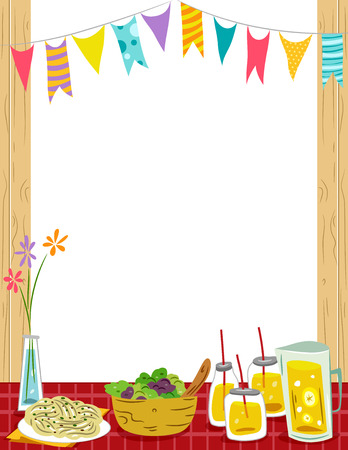 party drinks: Frame Illustration of a Party Table Filled with Food and Drinks Stock Photo