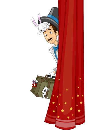 peeking: Illustration of a Magician Peeking from Behind a Curtain