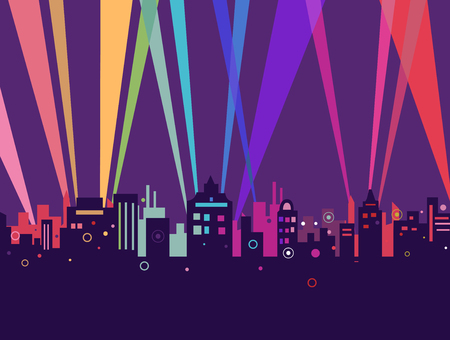 city at night: Illustration of Colorful City Lights Coming from the Back of Giant Buildings