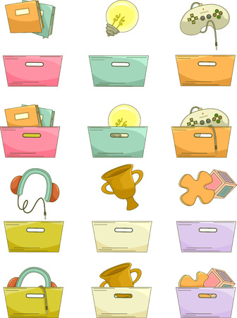 grouped: Grouped Illustration of Baskets Paired with Different Icons