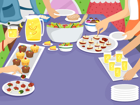 potluck: Illustration of a Family Gathering Together for an Outdoor Meal