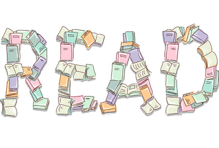 arranged: Typography Illustration of Books Arranged to Form the Word Read