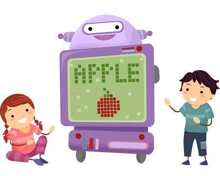 bonhomme allumette: Illustration Stickman de Little Kids écoute d'un enseignant de Robot Banque d'images