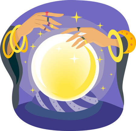 foretell: Illustration of a Gypsy Manipulating a Crystal Ball Stock Photo