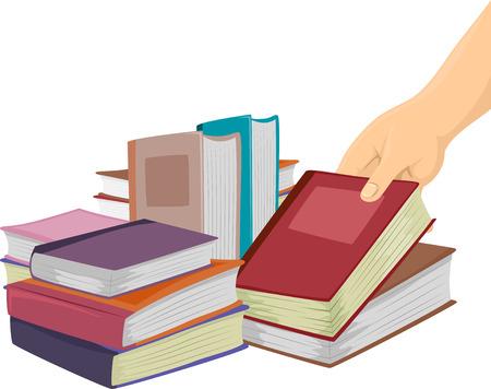 Illustration d'une femme Choisir un livre à un bazar