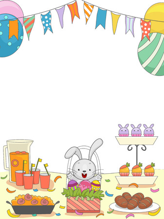 filled: Easter Party Illustration of a Table Filled with Food