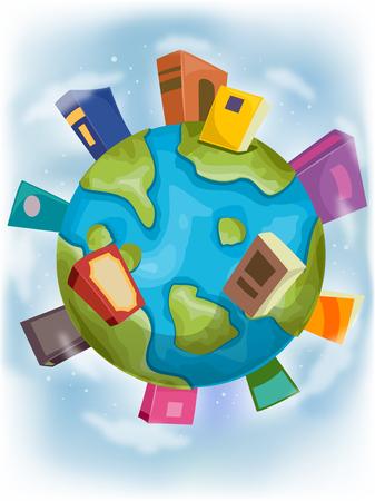 surrounding: Illustration of Book Shaped Buildings Surrounding a Globe -  Stock Photo