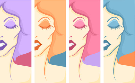 drag: Panel Illustration of a Drag Queen in Full Make Up and Costume