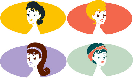grouped: Grouped Illustration of Icons Featuring Pinup Girls