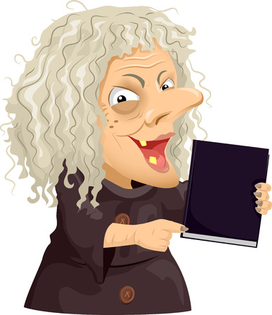 hag: Illustration of a Scary Old Hag Holding a Black Book