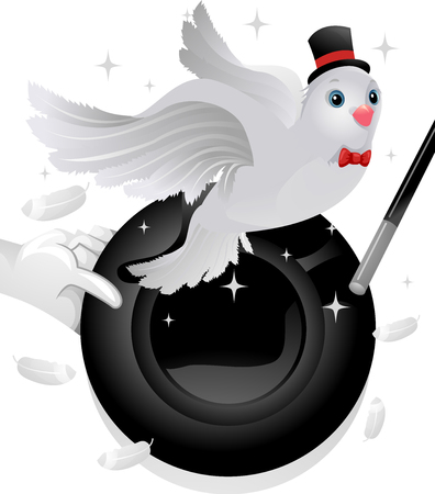 stage props: Illustration of a Magician Using a Hat and a Dove to Perform a Trick
