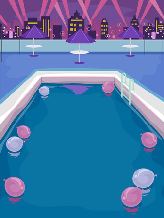 bar scene: Illustration of a Pool Party on the Rooftop of a Building