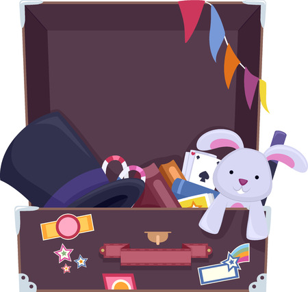 stage props: Illustration of a Suitcase Filled with Things Commonly Used by Magicians Stock Photo