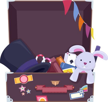 maleta: Ilustración de una maleta llena de cosas usadas comúnmente por los Magos