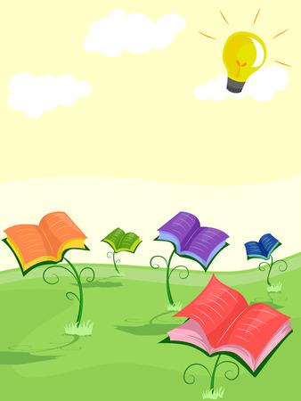 bathing: Illustration of Open Books Bathing Under the Sun Stock Photo