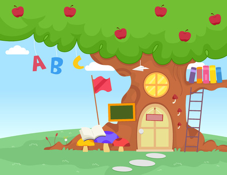 Illustration of an Apple Tree with Letters of the Alphabet Dangling from It