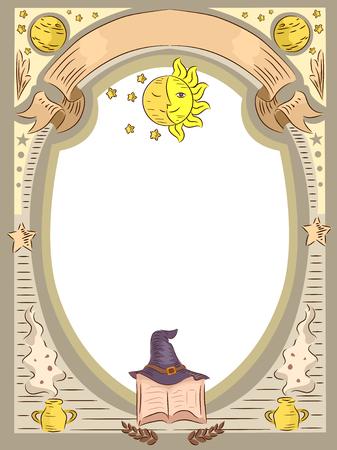 마법 관련 항목을 갖춘 프레임의 그림