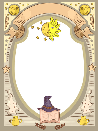 Frame Illustration Featuring Witchcraft Related Items
