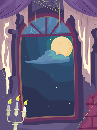 abandoned house window: Illustration of a Cobweb Filled Haunted House with the Full Moon Visible from the Window