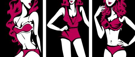 undergarment: Stencil Illustration of Women Modeling Sexy Lingerie
