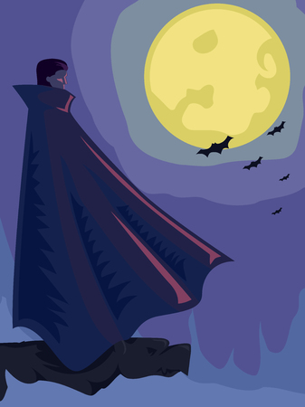 mystery man: Illustration of a Vampire with a Full Moon for its Background Stock Photo