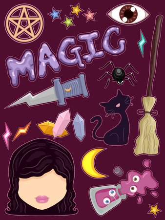 witchcraft: Whimsical Illustration of Ready to Print Stickers Featuring Witchcraft Related Items